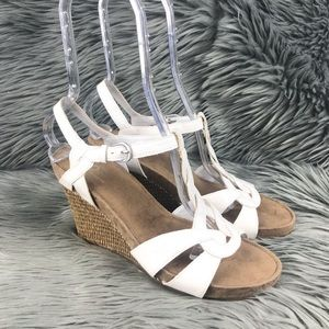 A2 Aerosoles Buckle T-Strap High Wedge Sandals